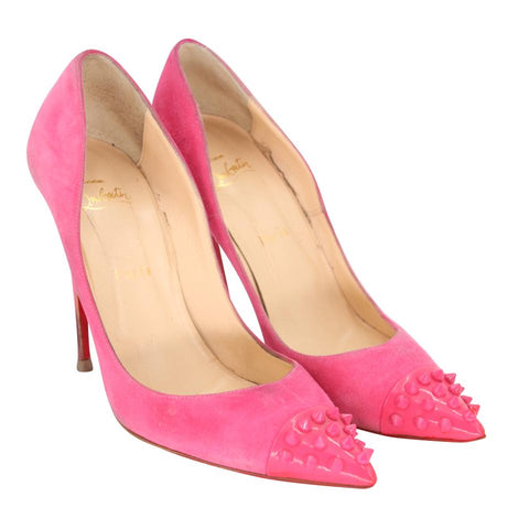 Christian Louboutin Hot Pink Suede Studded Patent Leather Cap Toe Geo 120 39.5 Pumps