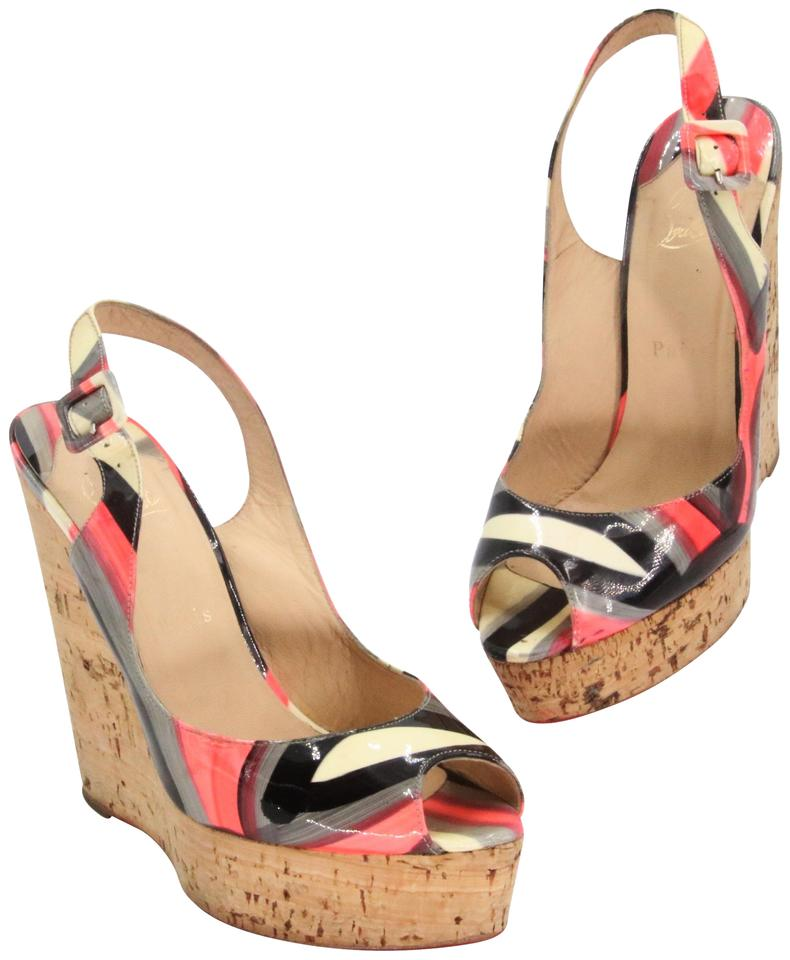 Christian Louboutin Multicolor Pink Black Grey Patent Leather Geometric Open Toe Cork Slingback Wedges