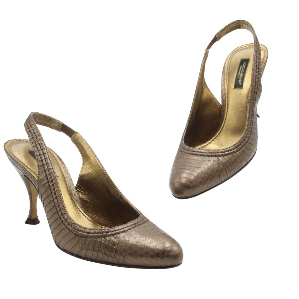 Dolce & Gabbana Brown Bronze D&g Metallic Python Snakeskin Leather Slingback Pumps