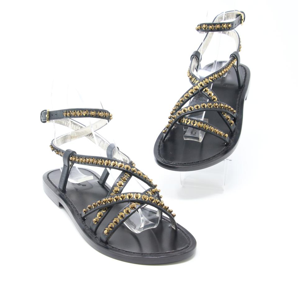 Dsquared2 Black Ds2 Embellish Beaded Sequins Criss Cross Strap Sandals
