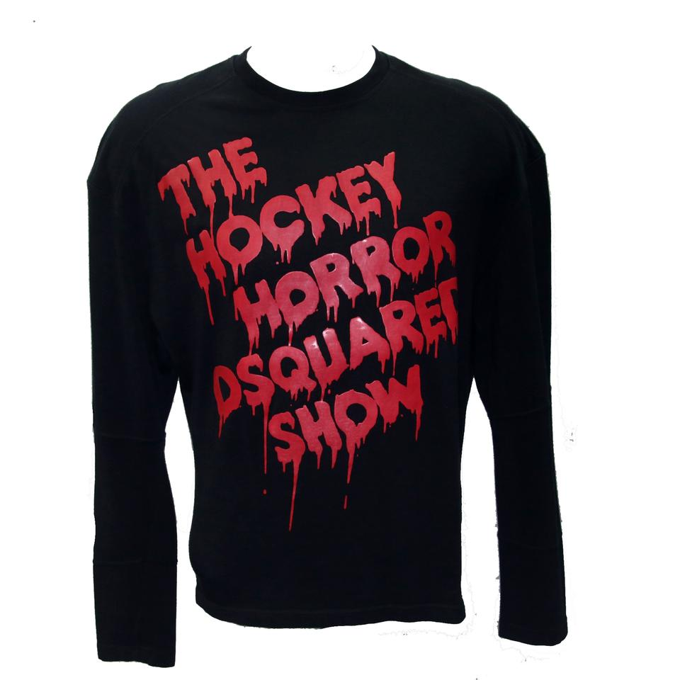 Dsquared2 Black Dsq2 Classic 'the Hockey Horror Long Sleeve M Tee Shirt