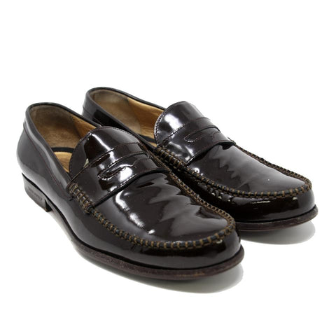 Dsquared2 Brown Patent Leather Round-toe Stitching Penny Loafers Formal Shoes