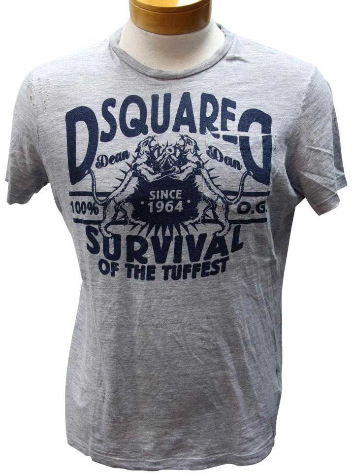 Dsquared2 Grey and Navy Blue L Dsq2 Survival Of The Tuffest Print Tee Shirt