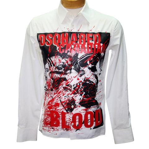 Dsquared2 Multicolor White Dsq2 Classic Fit Canadian Blood Print Shirt Button-down Top