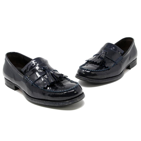 Dsquared2 Navy Blue Patent Leather Stitch Tassel Men's Penny Loafers Formal Shoes