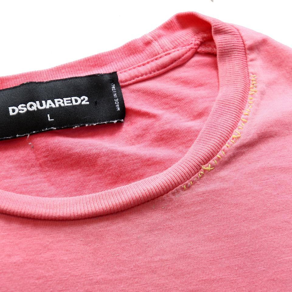Dsquared2 Pink L Dsq2 Classic Lake Shore Toronto 'rebels' Men's Tee Shirt