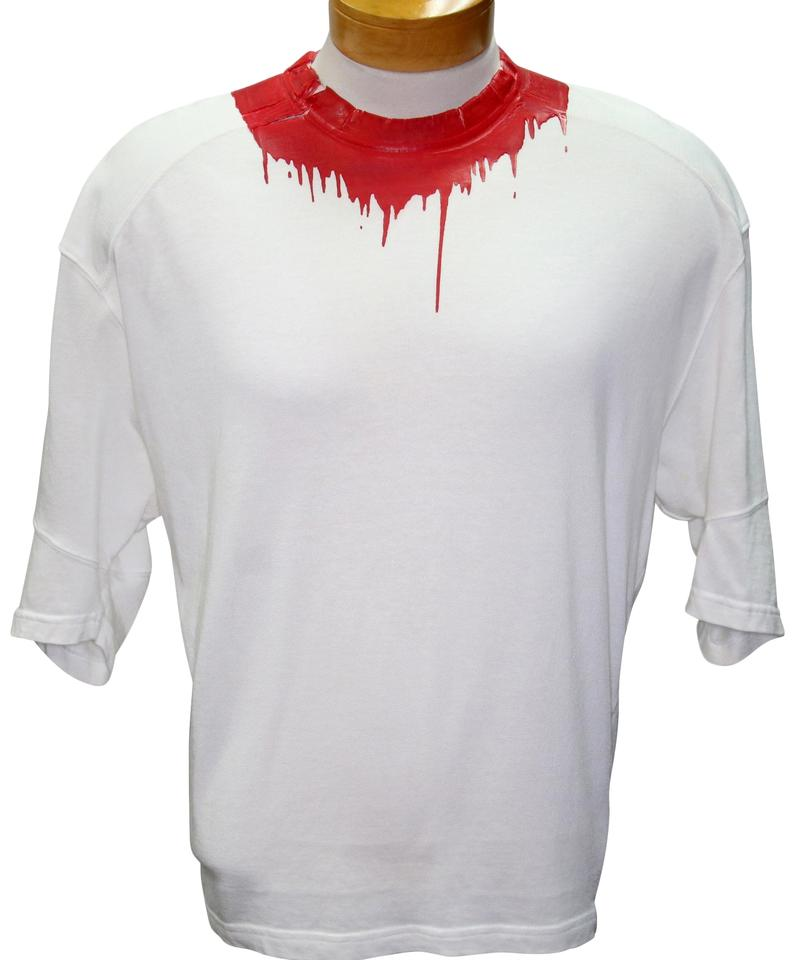 Dsquared2 White Dsq2 Logo Neck Blood Splatter Men's Classic M Tee Shirt