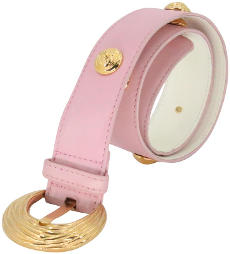 Escada Pink Gold-tone Hardware Leather Rose-studded Women's Waist Size 36 Belt