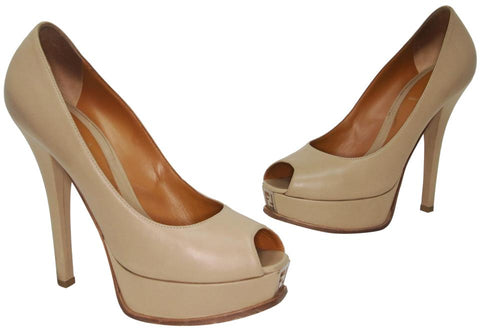 Fendi Natural Tan Napa Leather Fendista Peep Toe Pumps Platforms