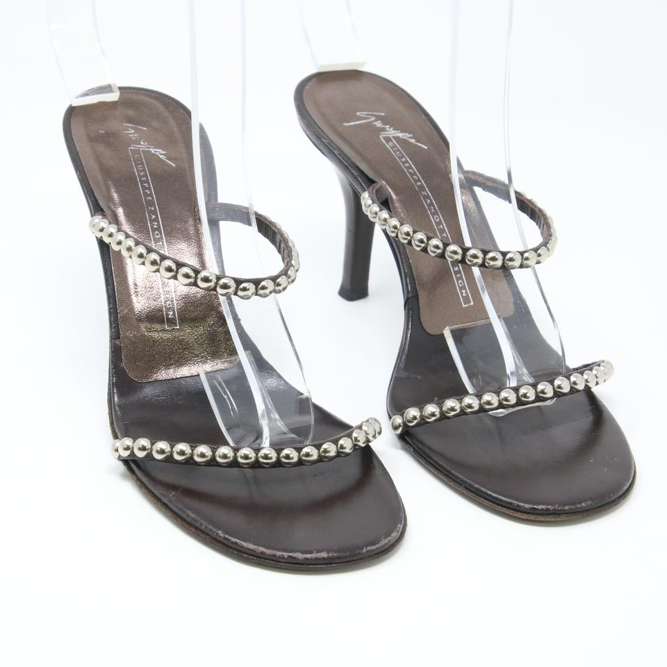 Giuseppe Zanotti Dark Brown Classic Studded Leather Strappy Mule Heels 36.5 Sandals
