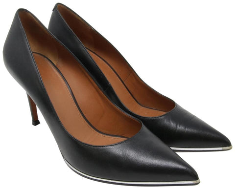 Givenchy Black Pointed Toe Leather Metal Plate Elegant 39.5 Pumps