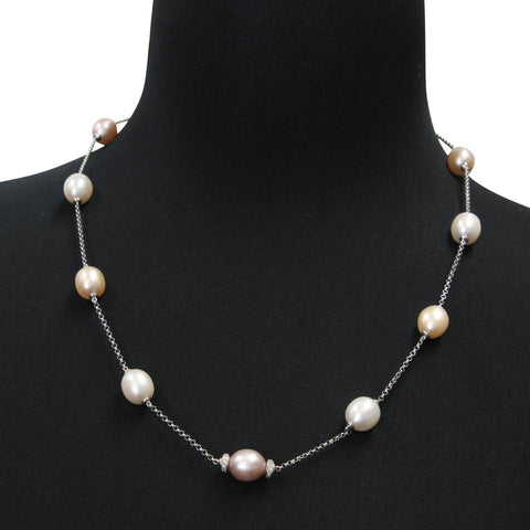 Givenchy Silver Silver-plated Metal Crystal Pearl 14k Necklace