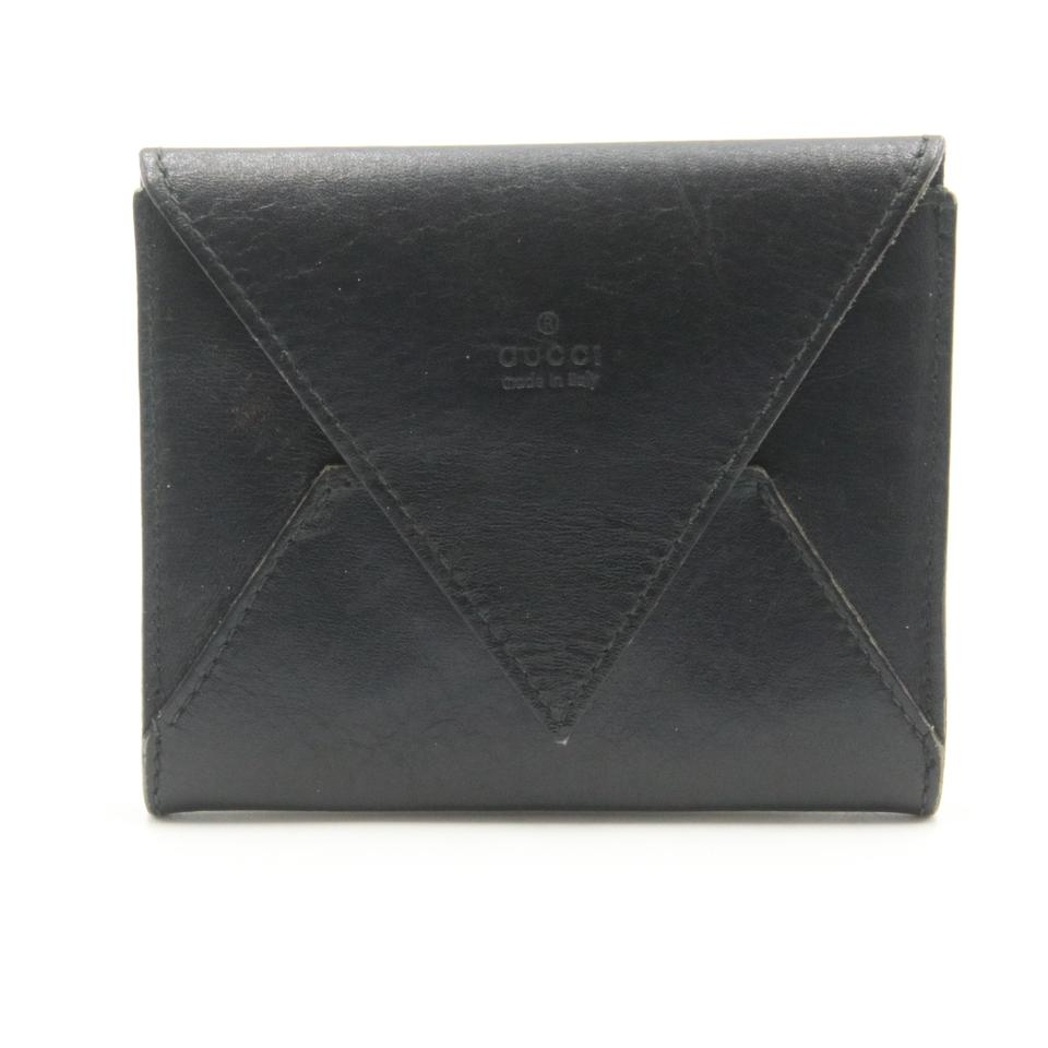 Gucci Black Calfskin Leather Envelope Pocket Card Holder Wallet