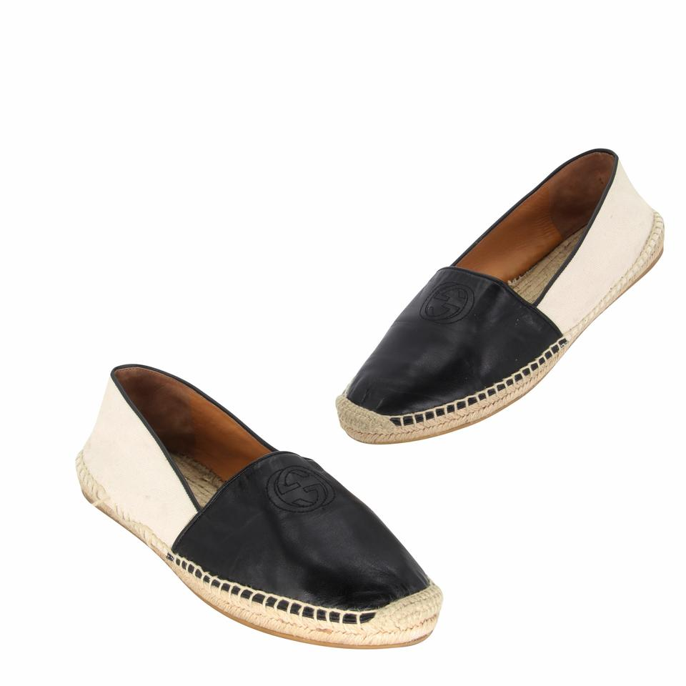 Gucci Black Leather Gg Espadrille 39.5 Flats