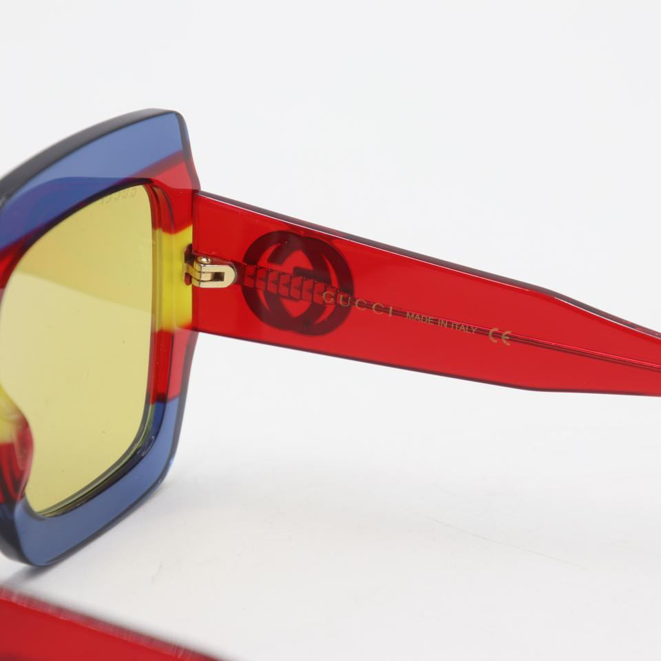 Gucci Blue Yellow Red Stripe Gg Square-frame Acetate Gg178s Sunglasses