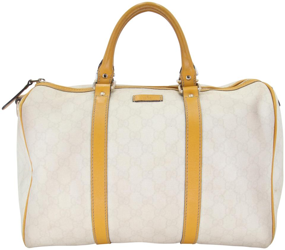 Gucci Boston Bag Classic Coated Joy Medium White Yellow Gg Supreme Canvas Satchel