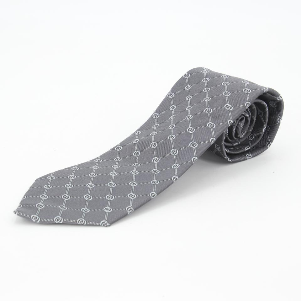Gucci Grey Cool Blue Gg Monogram Pattern Silk Print Men's Business Tie/Bowtie