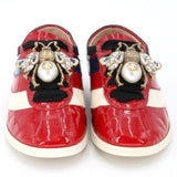 Gucci Red Vernice Crystal Patent Leather Sneakers 35.5 Flats