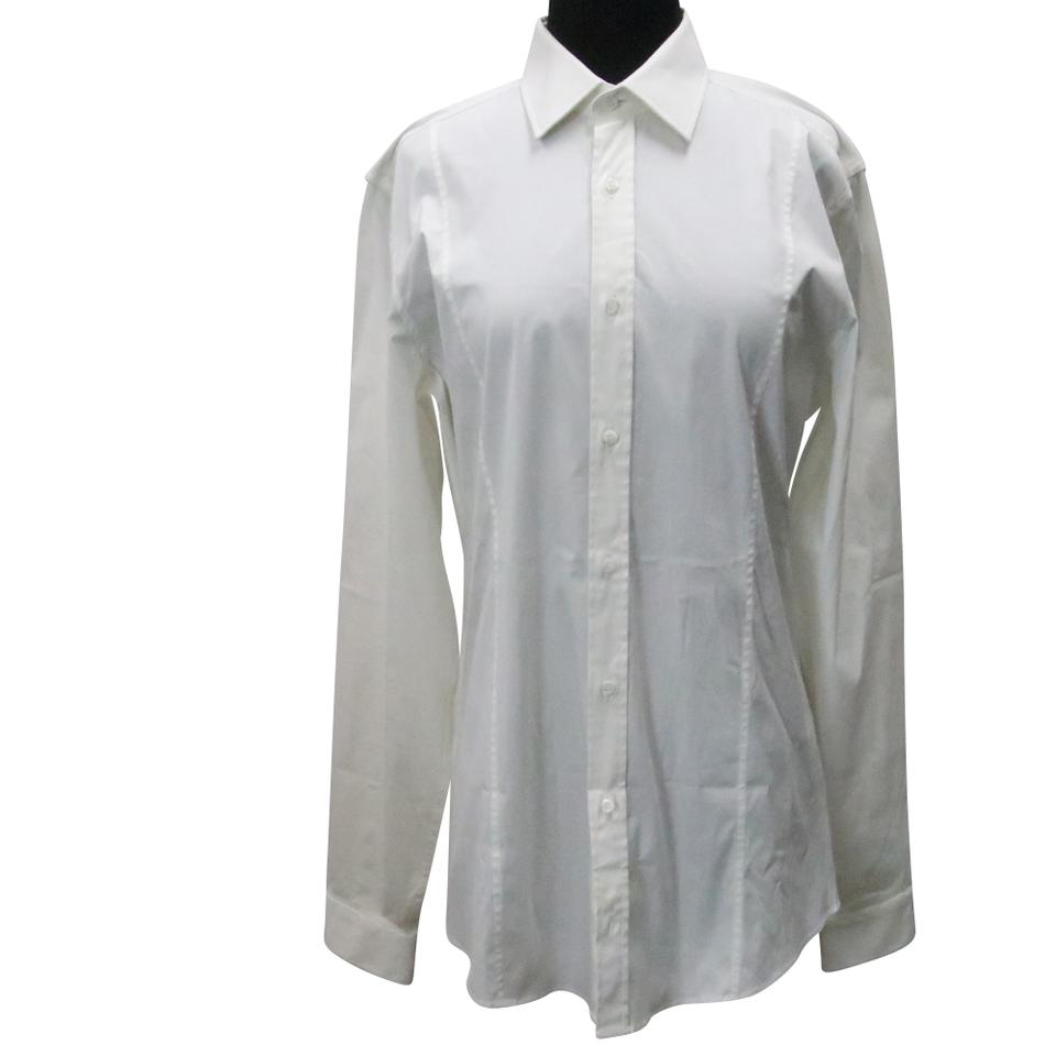 Gucci White Button-down Collared Men's Slim Size 39 Shirt