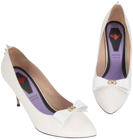 Gucci White Classic Sadie Bow Spiked Studs Pointed-toe Pumps