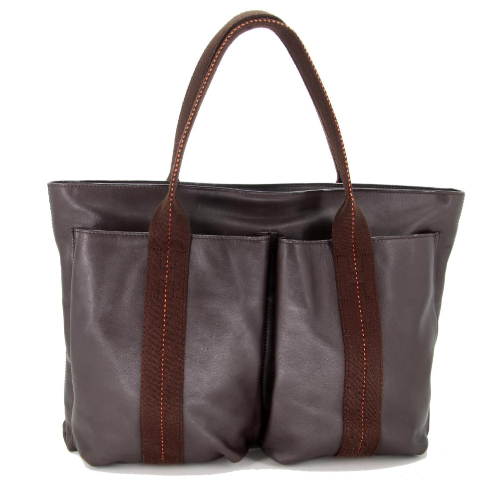 Hermes Garden Party Bag Tpm Brown Leather Tote
