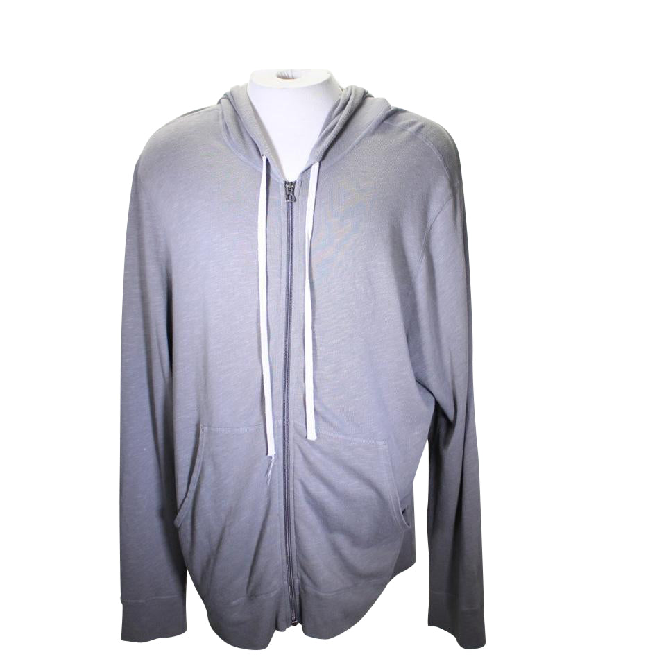 James Perse Gray Vintage Full Zip Hoodie Shirt
