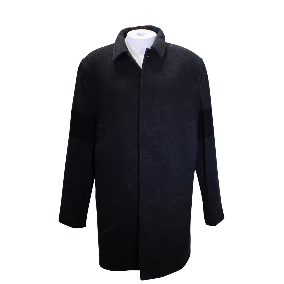 James Perse Gray Wool Black Ribbed Trench Coat Shirt