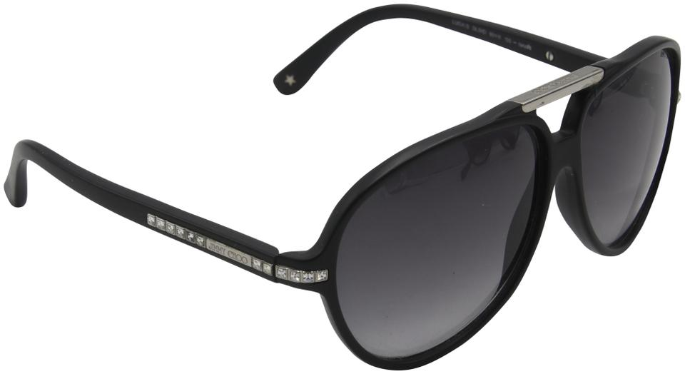 Jimmy Choo Black Luisa Aviator Frame Rhinestone Detail Made In Italy Sunglasses