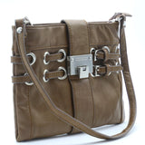 Jimmy Choo Clutch Small Buckle Tan Brown Silver-tone Hardware Leather Baguette