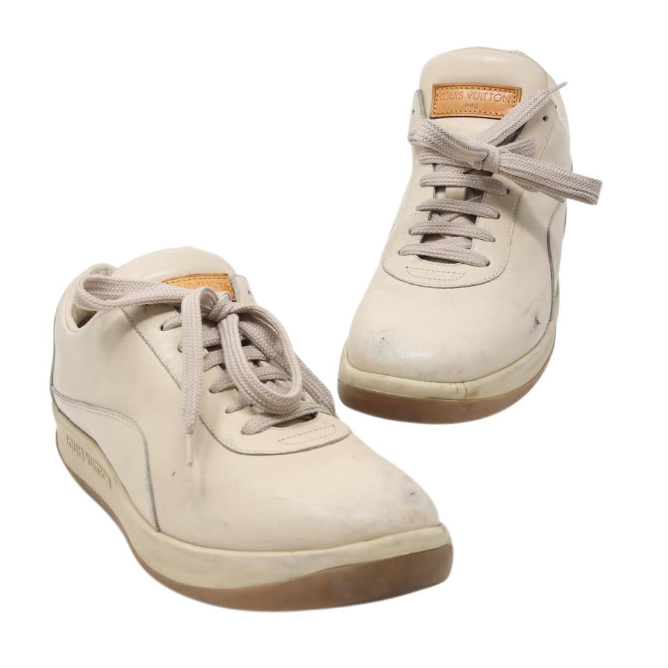 Louis Vuitton Beige Classic Lv Men's Calfskin Leather Lace Up Leisure Size 39.5 Shoes