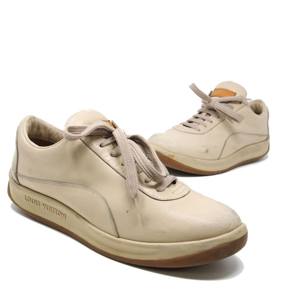 Louis Vuitton Beige Classic Lv Women's Calfskin Leather Lace Up Leisure 39.5 Sneakers