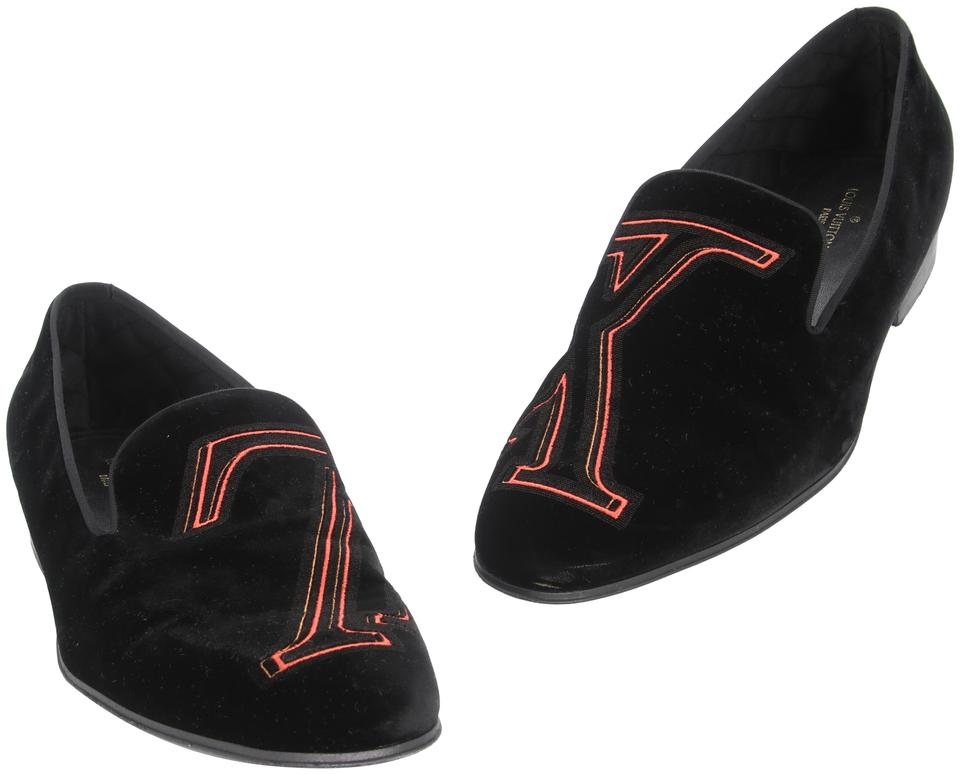 Louis Vuitton Black Orange Upside Down Virgil Abloh Logo Auteuil Slipper Velvet Loafers Formal Shoes