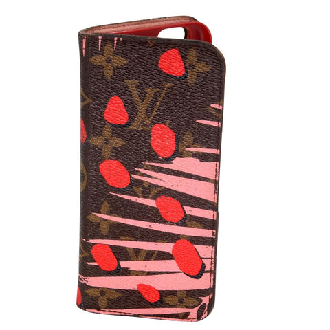 Louis Vuitton Brown Pink Limited Edition Sugar Poppy Monogram Canvas Jungle Print Iphone 6 Case Tech Accessory