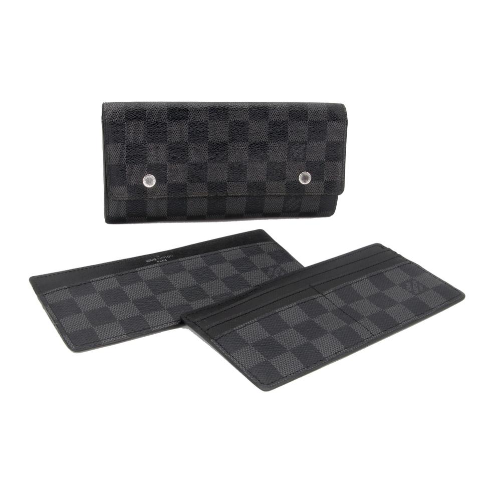 Louis Vuitton Damier Long Gm Graphite Double Snap Portefeuille Wallet