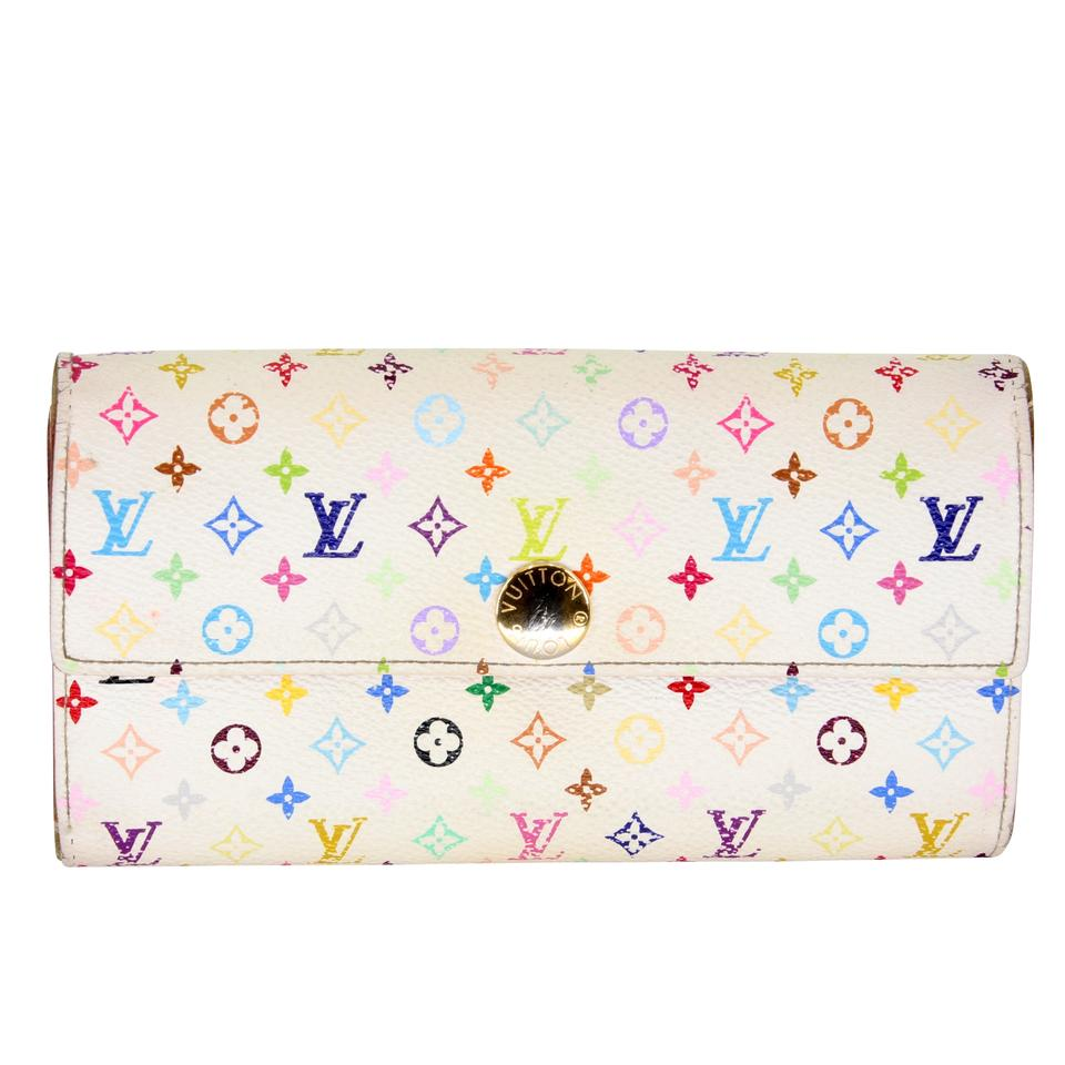Louis Vuitton White Pink Sarah Takashi Murakami Monogram Multicolore Wallet