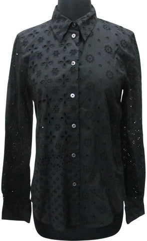 Marc Jacobs Black All-over Embroidered Eyelet Collared Spring Shirt Button-down Top