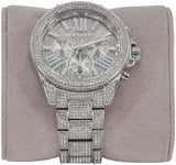 Michael Kors Silver Mk-6317 All Stainless Steel Crystal Pave Watch