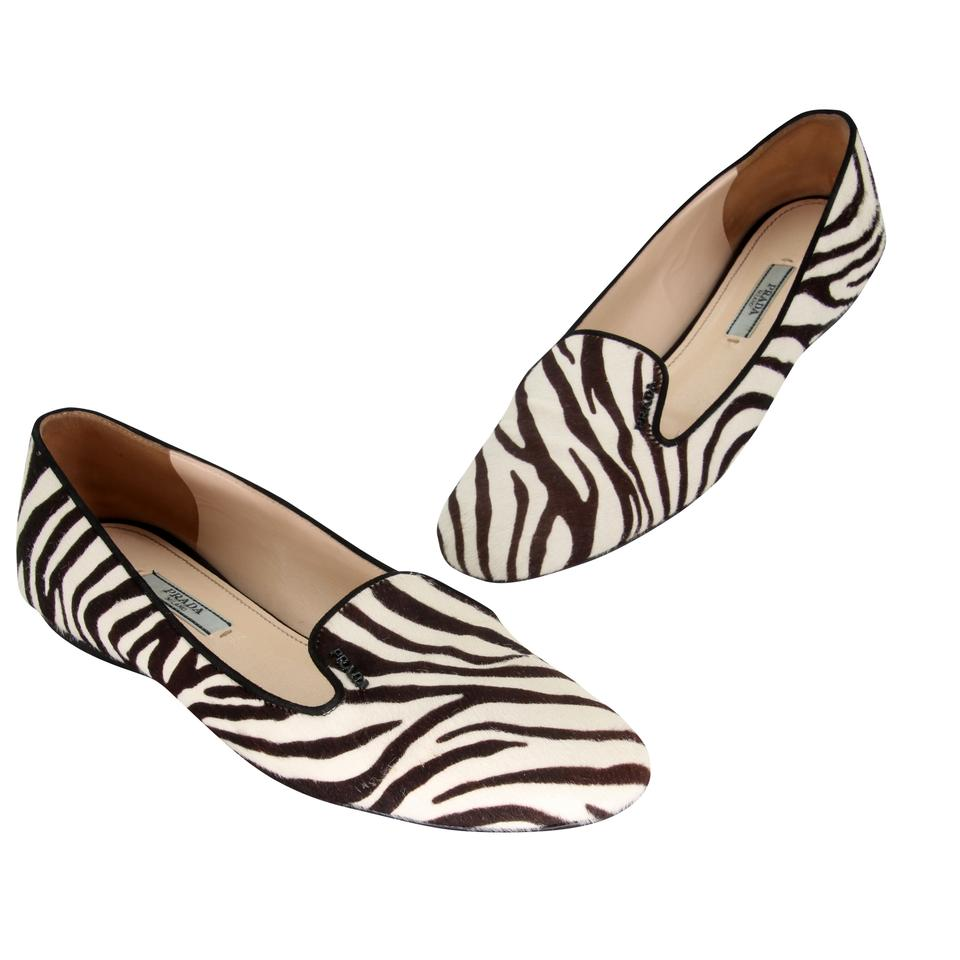 Prada Black and White Zebra-print Dyed Calf Hair Loafer Flats