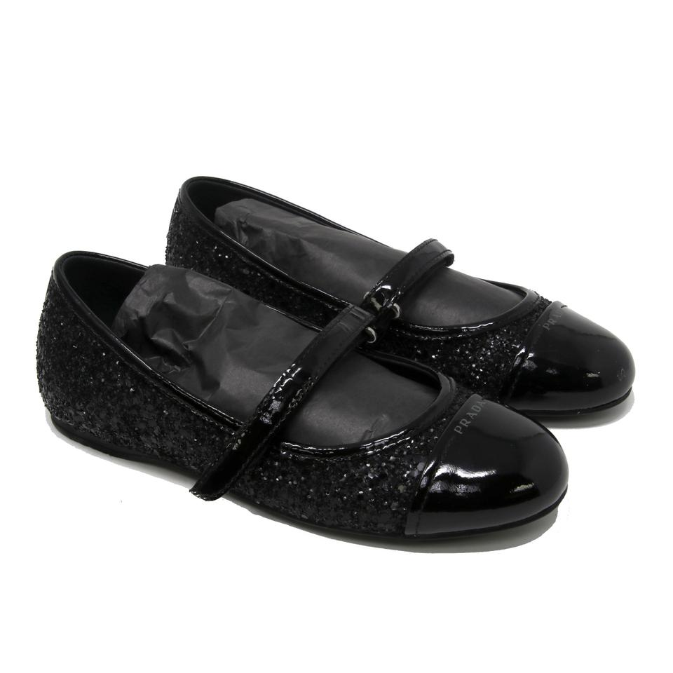 Prada Black Luna Glitter Princess Super Star Noir Toe Kid's Girls Mary Jane Flats