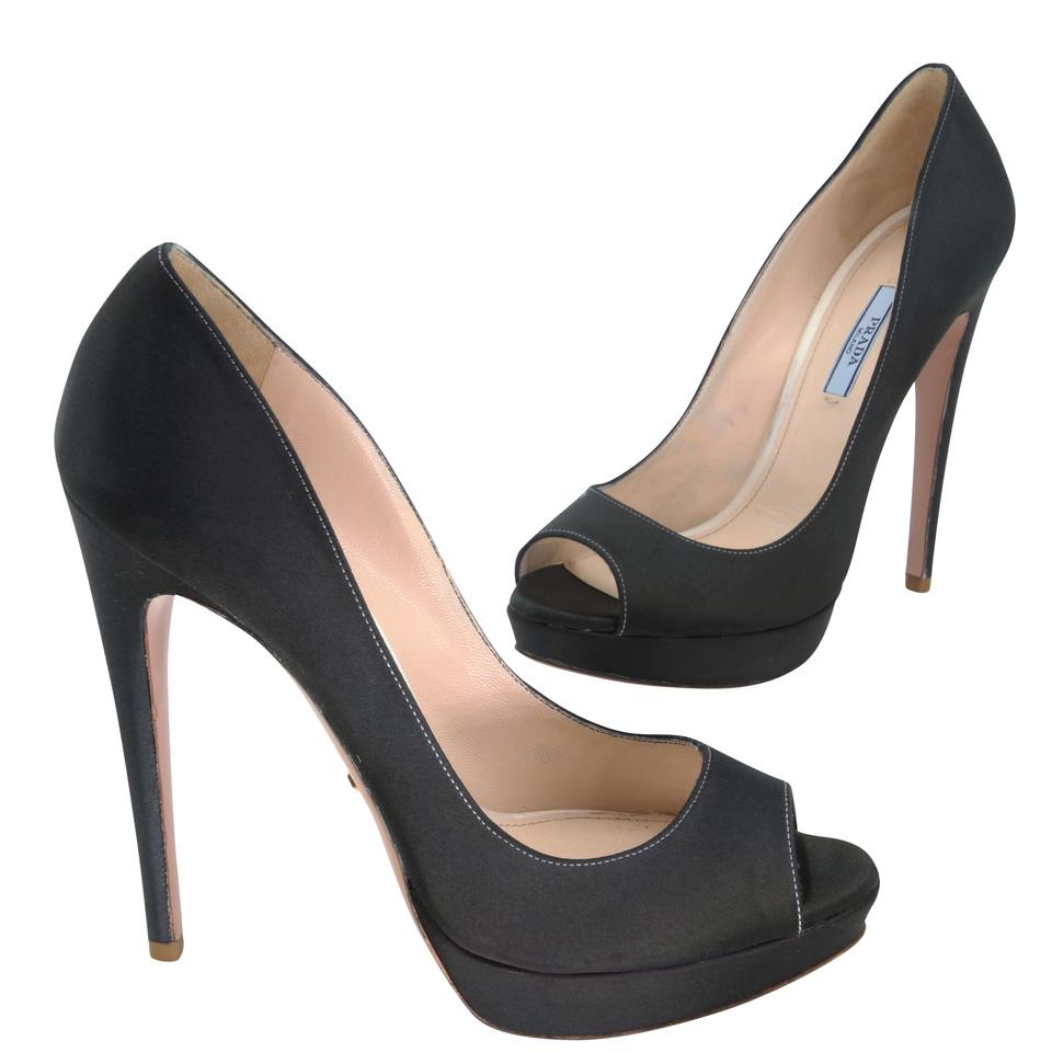 Prada Black Satin Peep Toe Platform 39.5 Pumps