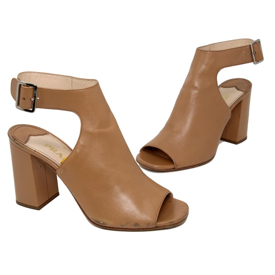 Prada Brown Classic Leather Open Toe Ankle Wrap Heel Boots/Booties