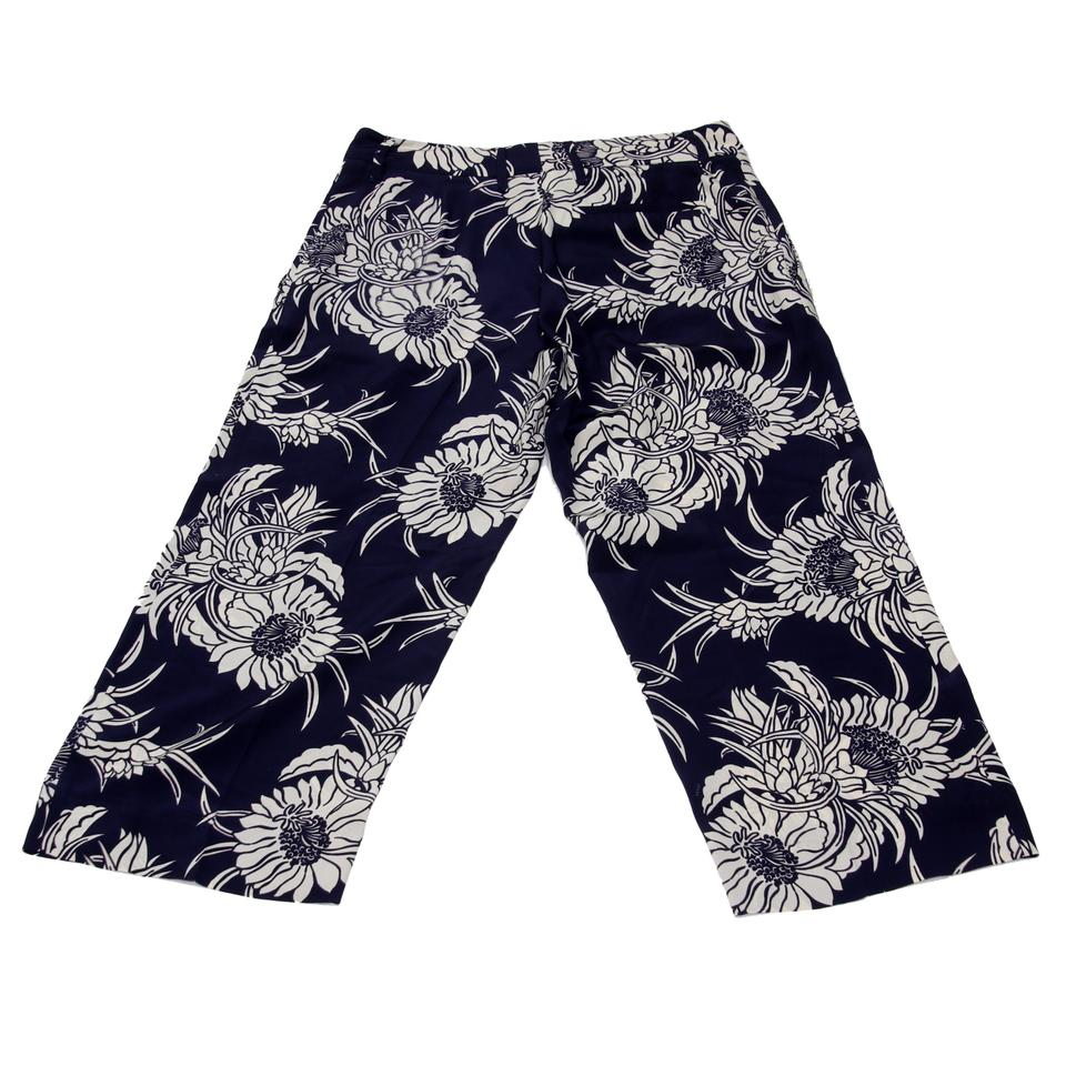 Prada Navy Blue White Floral Pattern Print Silk Casual Pants Capris