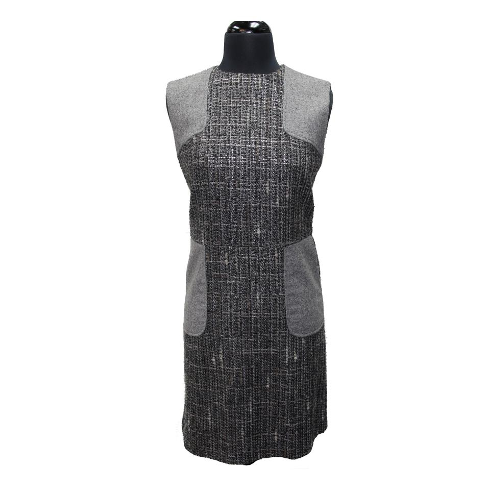 RED Valentino Grey Wool Tweed Blend Sleeveless Modern Work/Office Dress