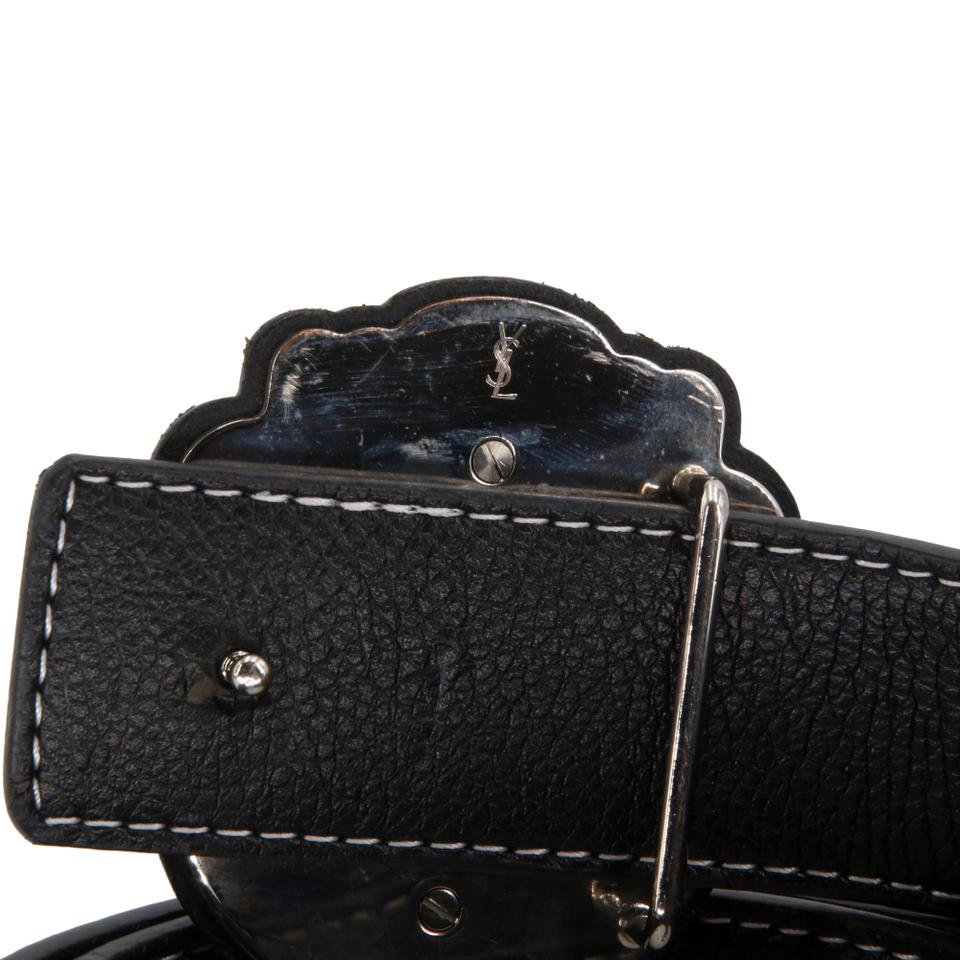 Saint Laurent Black Ysl Pebbled Grained Leather Studded Buckle 44/110 Belt