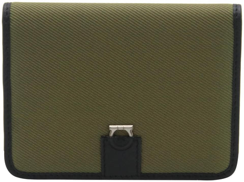 Salvatore Ferragamo Black Green Canvas and Leather Compact Flap Card Holder Wallet