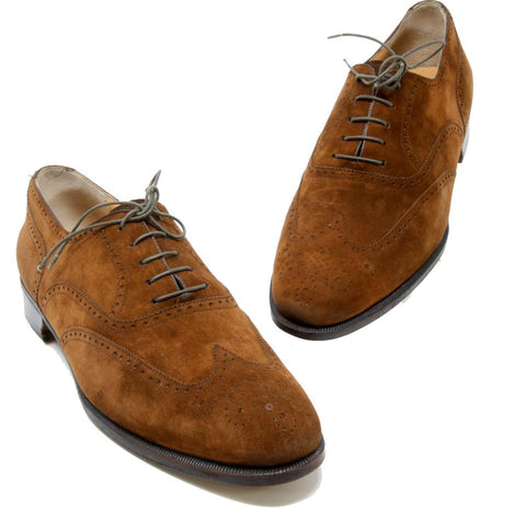 Salvatore Ferragamo Brown Dark Suede Leather Oxford Lace Up Derby Shoes