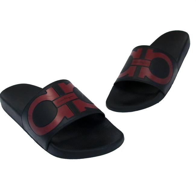 Salvatore Ferragamo Red Gancini Logo Rubber Molded Slide On Men's Sandals