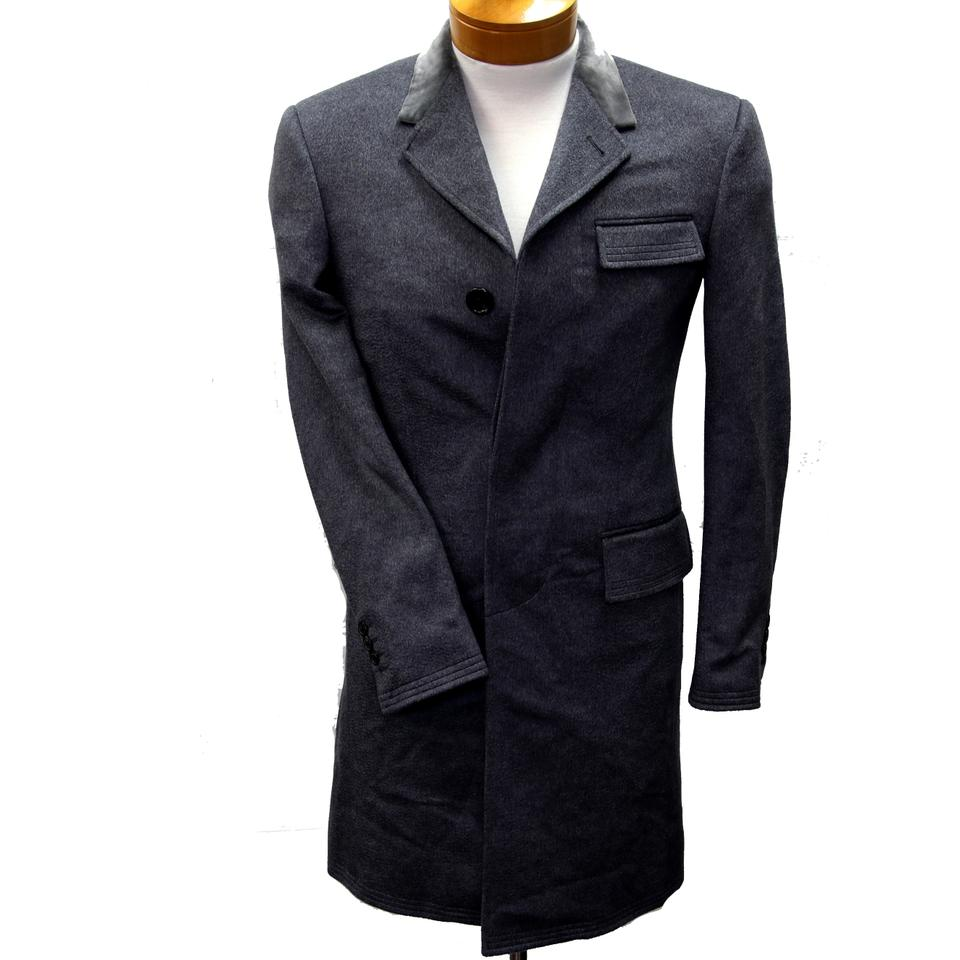Thom Browne Grey XS Velvet Collar Classic Chesterfield Men's Overcoat Jacket Coat