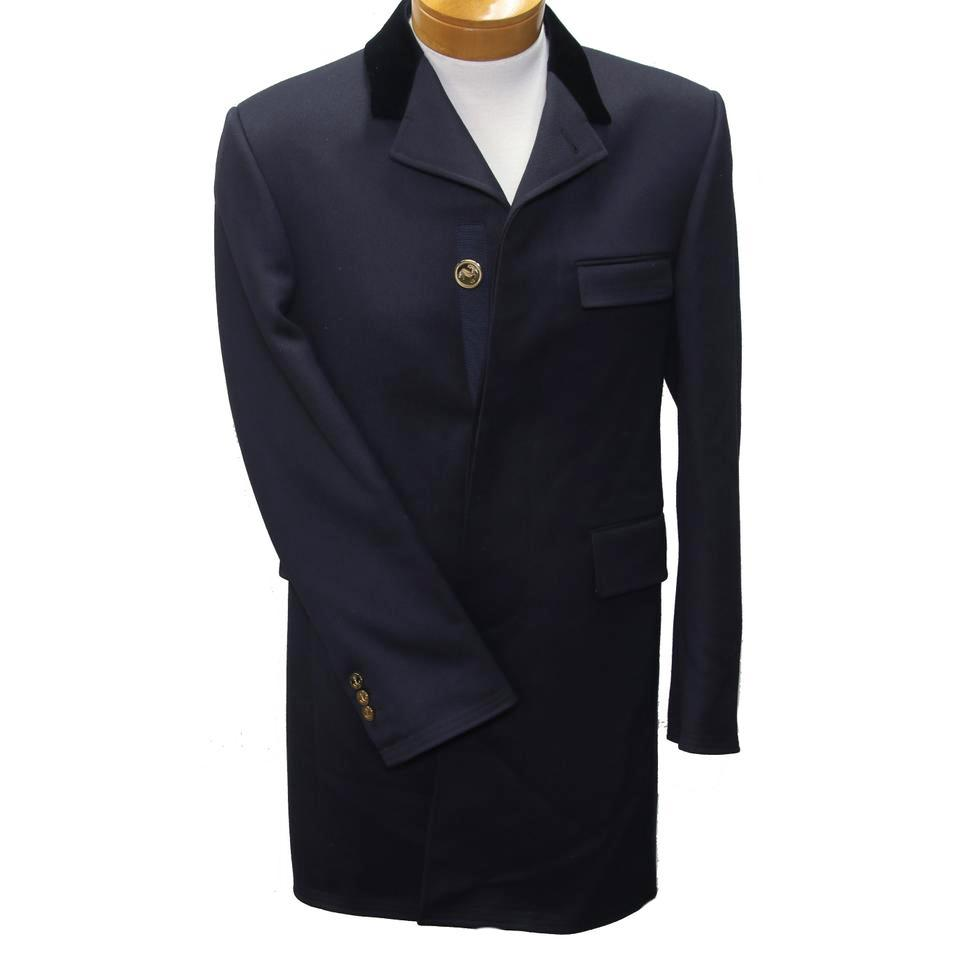 Thom Browne Navy Blue XS Classic Chesterfield Fw18 Cavalry Twill Men's Overcoat Jacket Coat