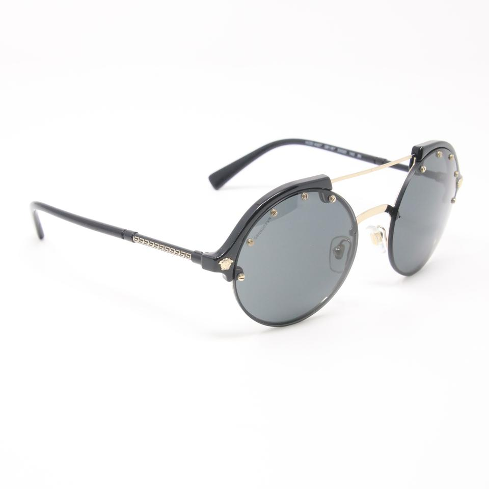 Versace Black Classic 90's Retro Round Double Bridge Medusa Logo Unisex Greek 4337 Sunglasses